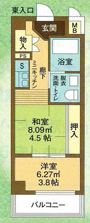 Aタイプ(西向き)/29.70㎡ 間取り図